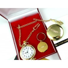Aston Martin Gold Plated Pocket Watch and Keyring